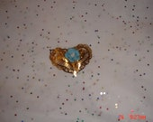 Vintage Gold Filigree Porcelain Double Heart Brooch / Pin - Sweet
