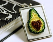 Avocado Love Necklace. Silver Rectangular Pendant. Punchneedle Embroidery. Green, Brown. Embroidered Wearable Fiber Art.