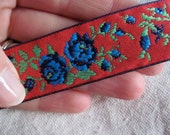 Rose Garden BLUE flowers on RED  woven jacquard woven ribbon