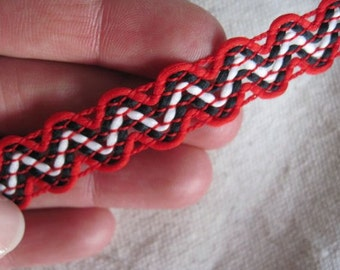 RED White and BLACK zig Zag accent trim