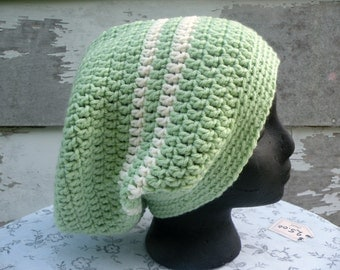 Slouch Hat, Crocheted Hat, Loose Fitting Hat, Mint Green And Cream Stripes, Casual, Fits a Larger Head