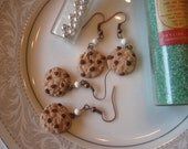 Cookie and Milk for Santa. polymer clay handsculpted dangle earrings