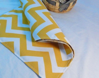 Modern Table Runner, Yellow  and White Indoor / Outdoor Runner