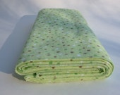SALE (limited time only) Extra Large Flannel Receiving Blanket - Green Woodland Polka Dots