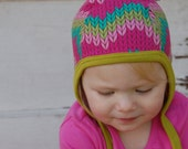 Baby pilot hat,multi color chevron baby cap, hat with ties,hearing aid hat, fall hat, baby shower gift, toddler hat, cotton knit hat
