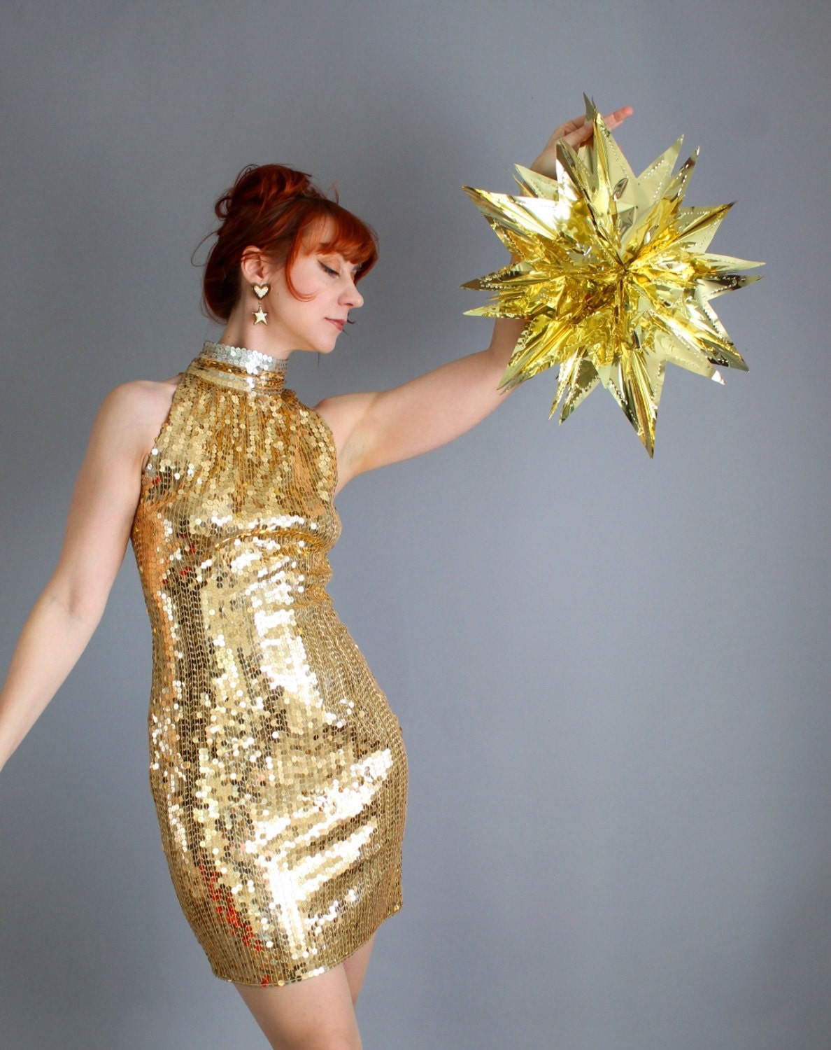 Sexy Hollywood Glam Gold Sequined Cocktail Party Dress. Wiggle Dress. Retro 60s. Prom Dress