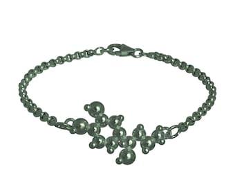 Adrenaline 3D Molecule Charm Bracelet - Blackened Sterling Silver