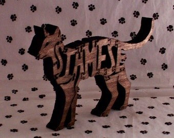 Siamese Cat Handmade Fretwork Wood Puzzle