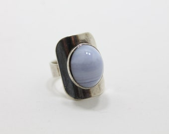 boho ring - agate ring - 60s sterling silver modernist blue lace agate ring - festival jewelry