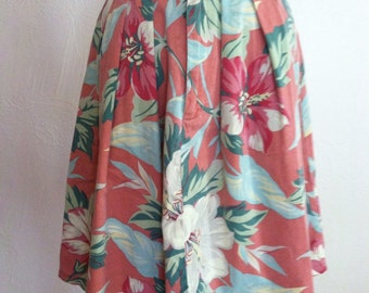 Muted Hibiscus Flower Print Denim Vintage BANANA REPUBLIC Skirt Small