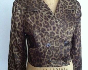 Metallic Cheetah Print Vintage TINA HAGEN Double Breasted Cropped Blazer S