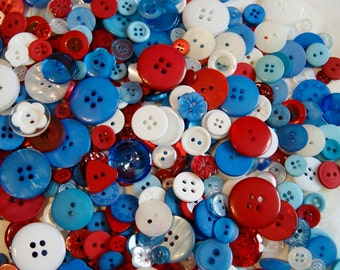 100 Button , Red White Blue, Patriotic Mix, 4th Of July Mix Assorted sizes, Sewing, Grab Bag, Crafting, Jewelry ( 848 )