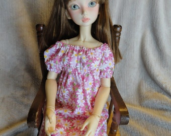 SD BJD Dollfie Chemise Dress Hot Pink With White Daisy