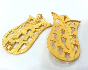 40x25 mm  Tulip Pendant , Gold Plated Brass G1998