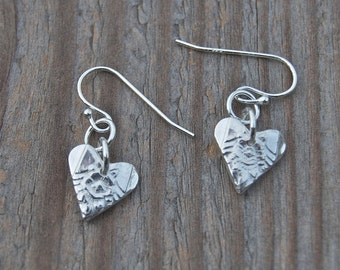 tiny heart earrings, Valentines gift, I love you, delicate flower earrings, bridesmaid gift, birthday gift for her, made in america