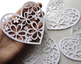 Large White Paper Hearts Wedding Hearts White Wedding decorations Bridal Marriage Wedding Scrapbook White wedding table decoration
