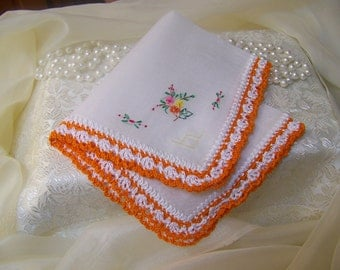 Ladies Handkerchief, Hanky, Hankie, Hand Crochet, Lace, Orange, Floral, Personalized, Monogrammed, Embroidered, Floral, Bridesmaids