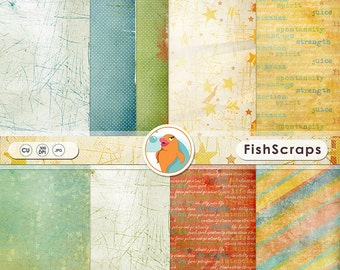 Summer Fun in the Sun Digital Papers, Vivacious Life, Orange, Yellow & Blue Background Papers for Digital Scrapbooking, Card making