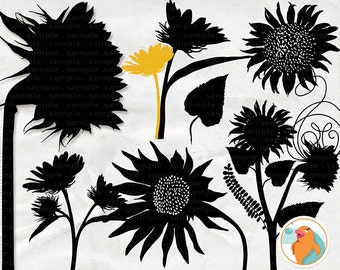 SunFlower Clip Art Silhouettes, Summer Sun Flower ClipArt, Country Wedding Invitation Graphic, Digital Stamps, PNG + PS Brush