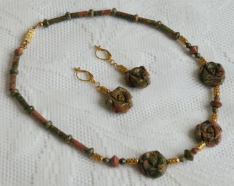 Unakite Roses Necklace and Earring Set