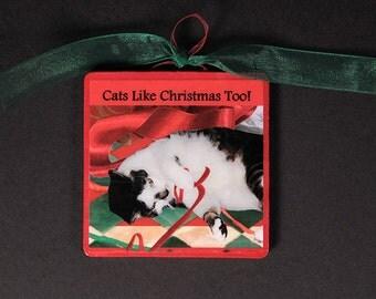 Cat Christmas Ornament, Handmade, Tree Ornaments, Stocking Stuffer, Cat Art, Deborah Julian