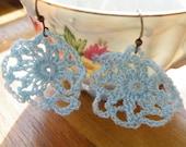 75% of this item, enter LOVE2016 at checkout.  Light Blue Crocheted Bohemian Earrings, Blue Lace Earrings, Flower Earrings