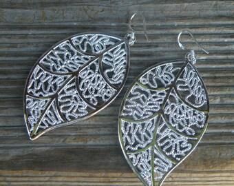 50% off this item, enter LOVE99 at checkout, Leaf Earrings, Silver Filigree Drop Earrings, Leaf, Christmas Gift, Filigree, Boho Earrings