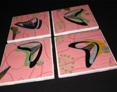 "Pink Boomerang Beat Retro Barkcloth Coasters - GREAT Gift Idea - Ceramic Tile & Barkcloth -- Set of 4 -- approx 4"" x 4"""