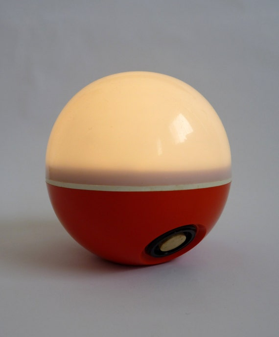 Vintage 1970s Orange Eveready All-A-Round Globe Light Battery Powered with Colour Gels