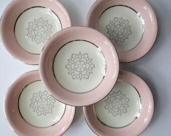 Dessert Bowls Pink Platinum International China Candlelite Set of Five - Vintage Chic