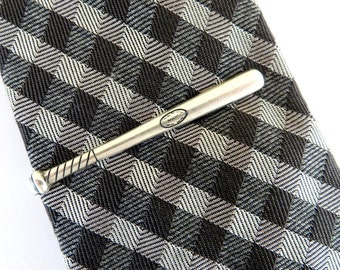 Baseball Bat Tie Clip- Baseball Bat Tie Bar- Sterling Silver and Brass Finish- Gifts For Men