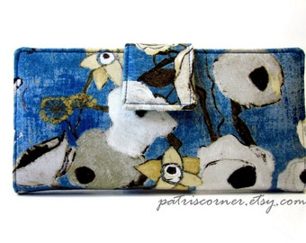 Handmade women's vegan wallet blue with poppy in neutral colors