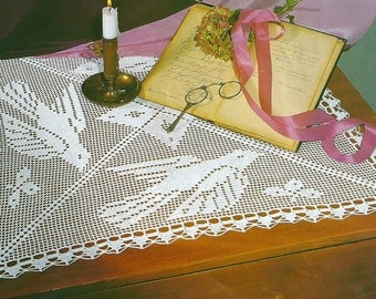 Crochet TableCloth Square 62 cm - 26 inches - Birds