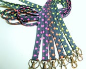 Handmade Fabric Skinny Lanyard - Optional Safety Breakaway - Michael Miller Neon Dots on Charcoal - Many other fabrics available