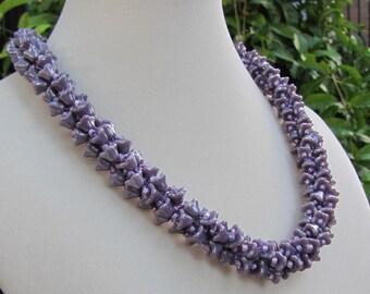 Lavender Flower Kumihimo Necklace