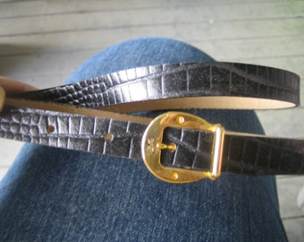 Belt, black, Leather,Sergio Valenti, NEW old stock, thin, Alligator, 70s, brass,buckle, made in USA