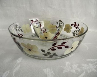 Chip and dip bowl, hand painted serving bowl, large serving bowl, hydrangeas, serving bowl, ivory flowers
