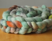 Corriedale Wool Hand Dyed Roving Light Green/Teal/Orange, 8oz:    spinning, felting, weaving, kniting