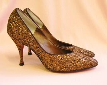 1950's Bronze Metallic Glitter Heels Size 5 NEW