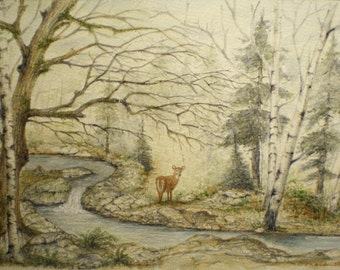 Art Card Painting Deer Woods Wildlife Nature Picture River Watercolor Creek