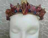 PRINCESS Crown / Mermaid Headress - replica from Once Upon A Time - real shells, freshwater pearls, semi-precious gem stones, gold starfish