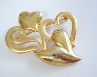 Vintage Gold Tone Large Heart Brooch by Casual Corner