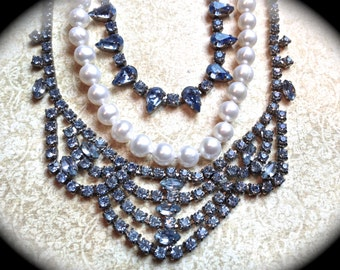 Something Blue Necklace- Pearl Rhinestone Necklace -Bridal Statement necklace-Pearls Wedding Jewelry- Vintage Tom Binns Inspired jewelry