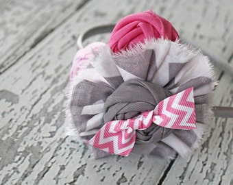 Pink Great Thoughts-- pink and grey chevron ruffle and rosette headband