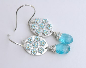 Forget Me Not Earrings (Natural Apatite Gemstones, Fine Silver, Sterling Silver)