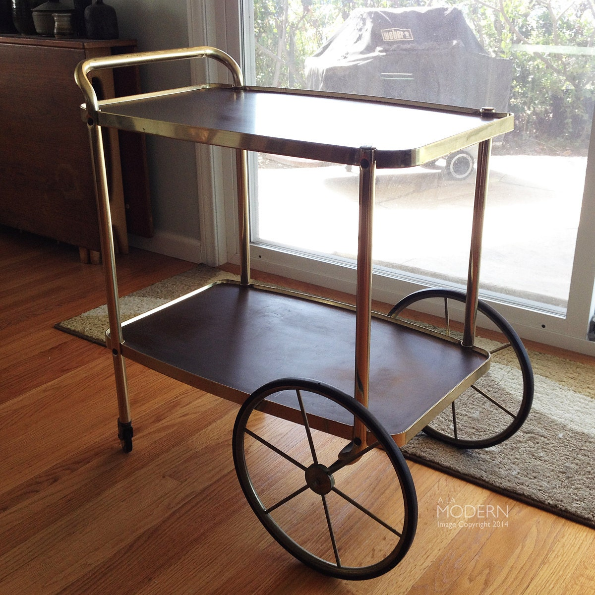 Reserved Vintage Cosco Mid Century Modern Bar Cart Brass And