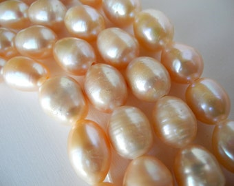 Freshwater Pearls Large Hole Pearls Peach Pink Natural Color Baroque  15mm 6 Pearls