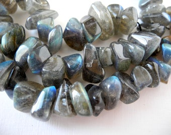 Labradorite Polished Nugget Gemstone Beads Semiprecious Stone Blue Flash 11mm 13mm Half Strand