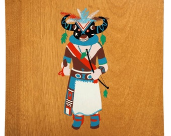 Buffalo Dancer - Wood Kachina Tray - Vintage Square Bent Plywood Dish
