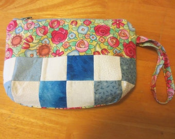Patchwork Wristlet Zipper Pouch, available in 3 fabrics
